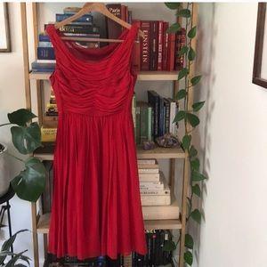 Moulinette Soeurs Red Silk Cocktail Dress